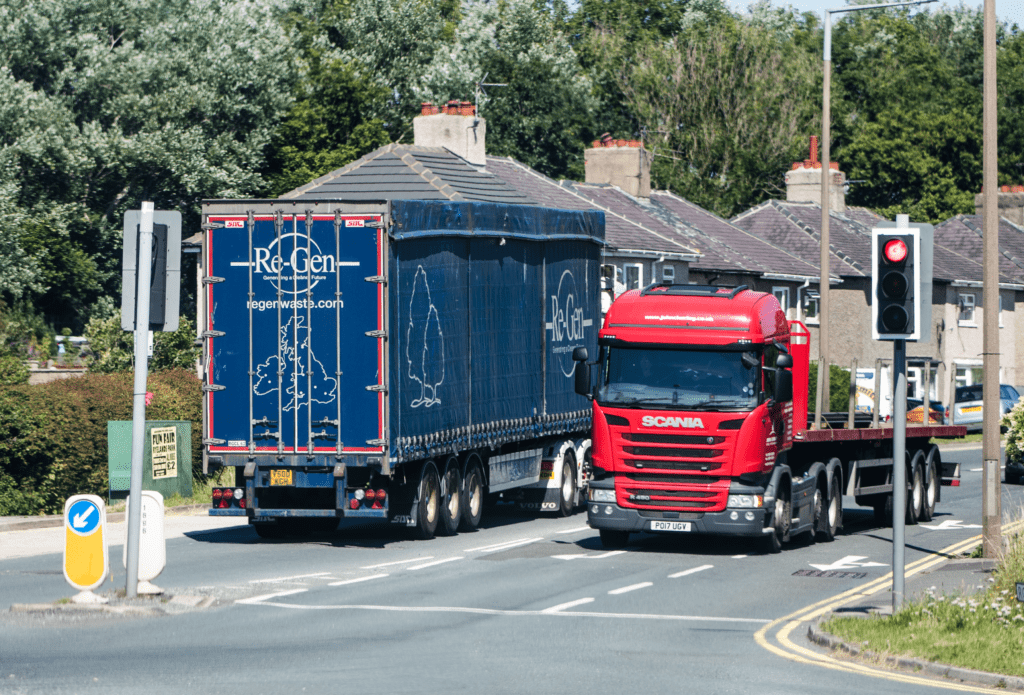 Two lorries on the UK Road