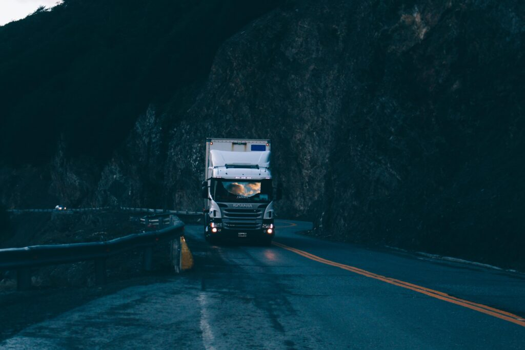 HGV Class 1 Lorry on cliffside road